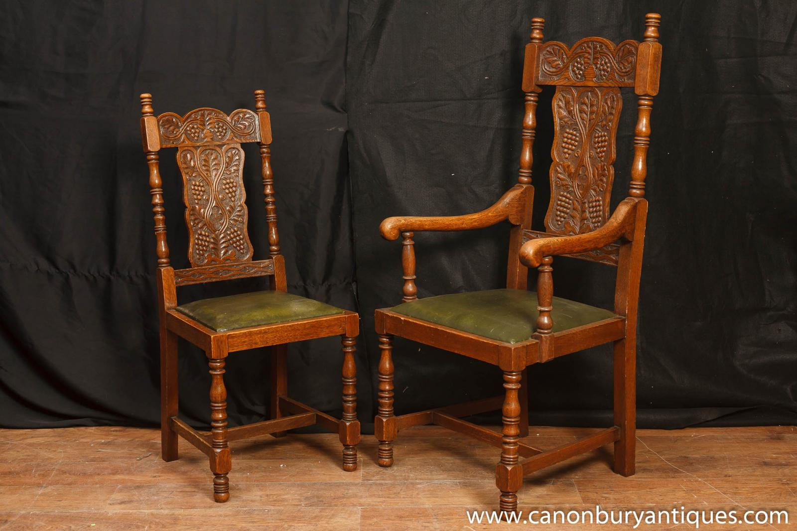 Set antique william and mary carved dining chairs oak