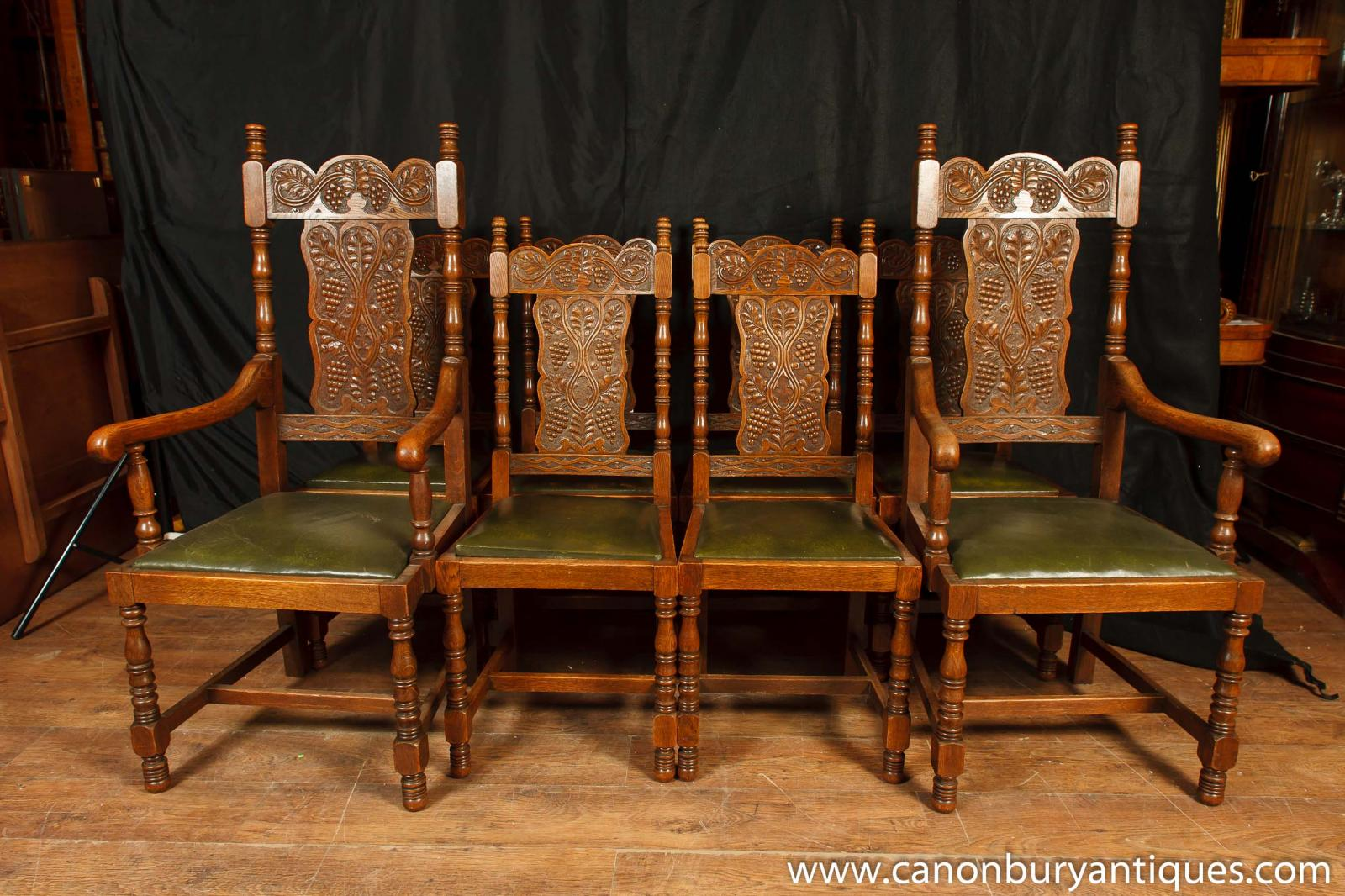 Set 8 Antique William And Mary Carved Dining Chairs Oak Kitchen Chair Ebay