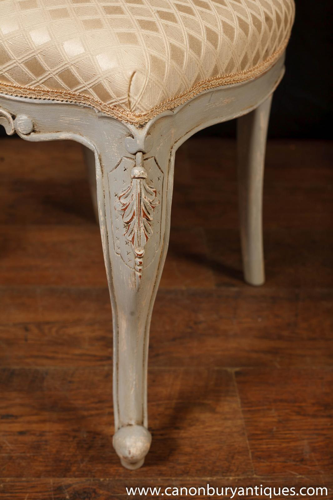Set 8 French Provincial Painted Dining Chairs Rustic