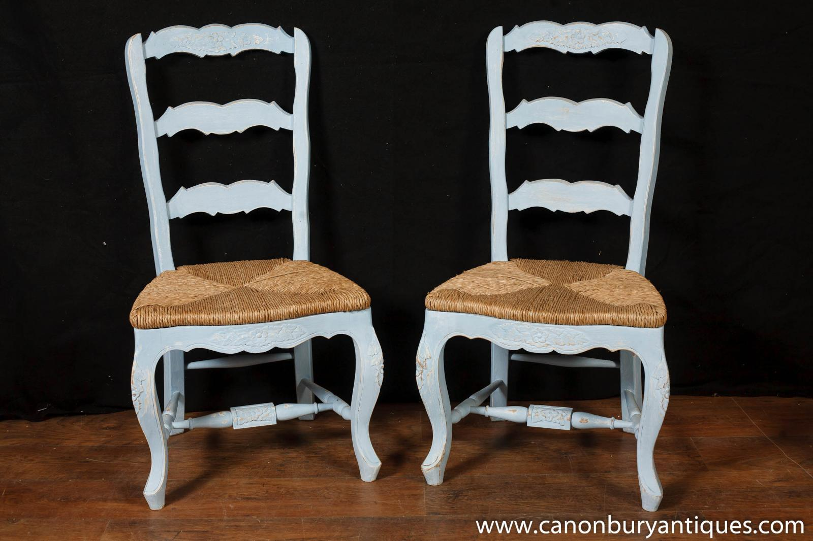 Set 8 painted french ladderback dining chairs kitchen oak Ladder back chairs