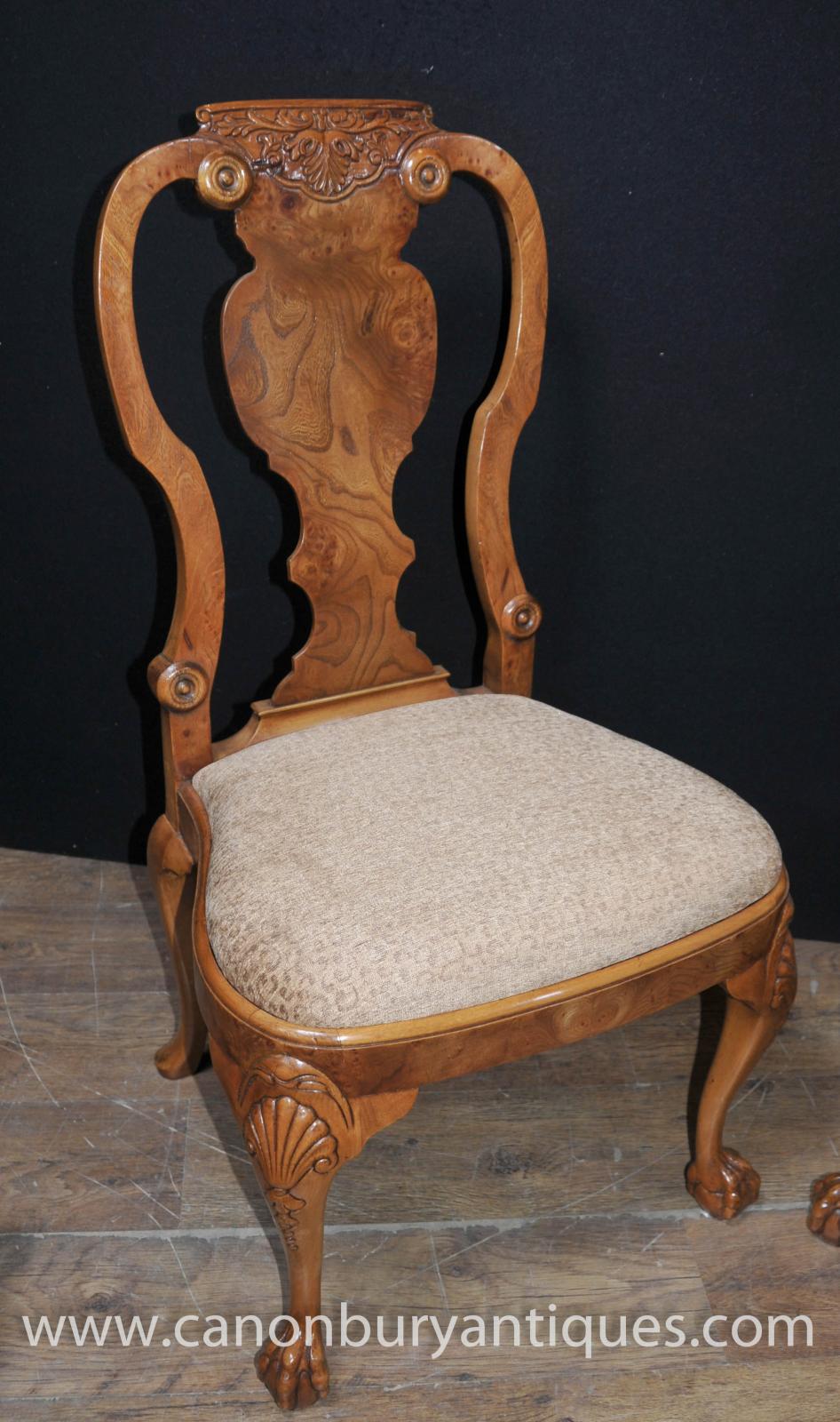 Set 8 Walnut Queen Anne Dining Chairs Armchair Set EBay