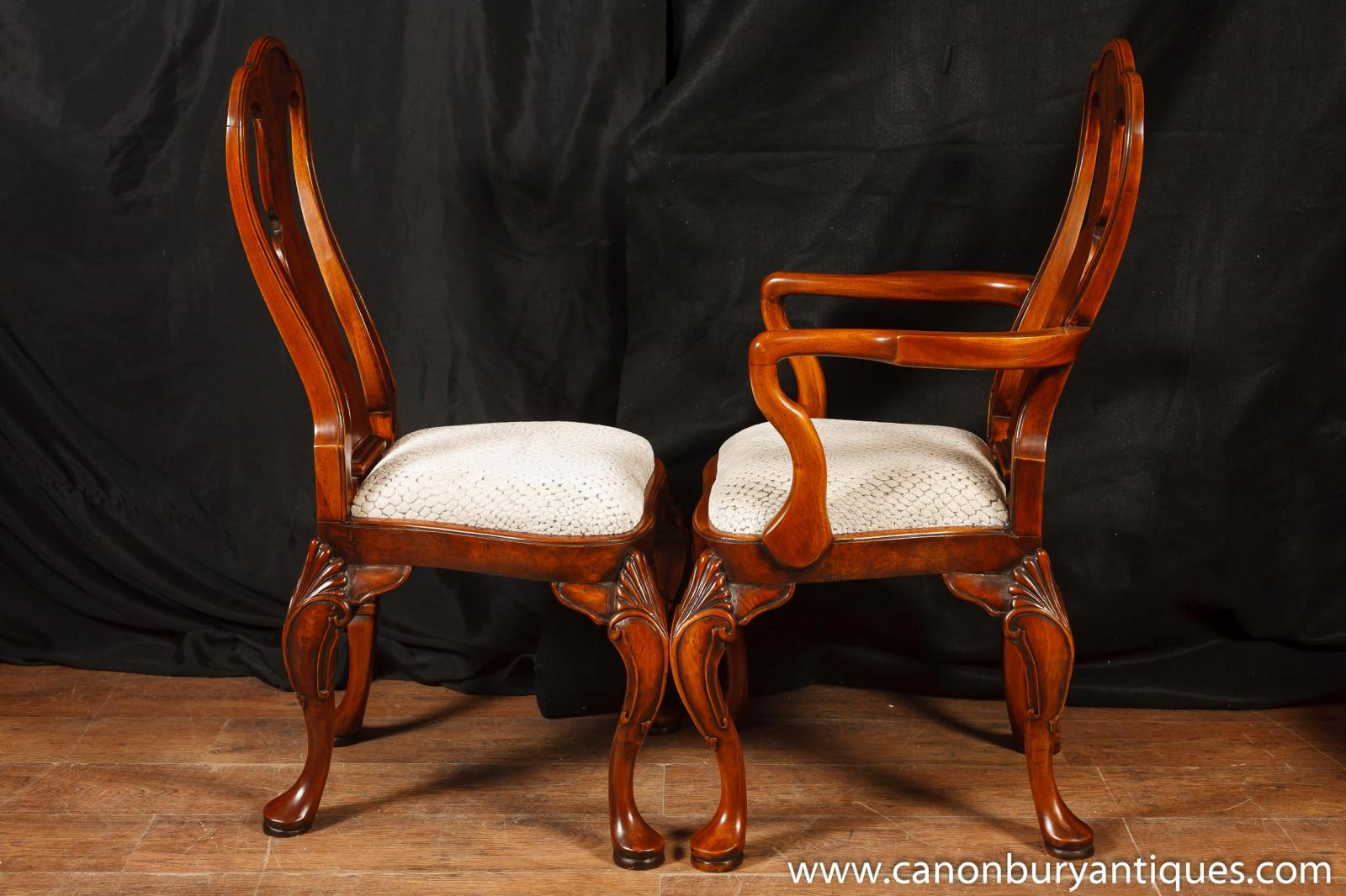 Set Queen Anne Dining Chairs Walnut Chair 10 Seats Ebay