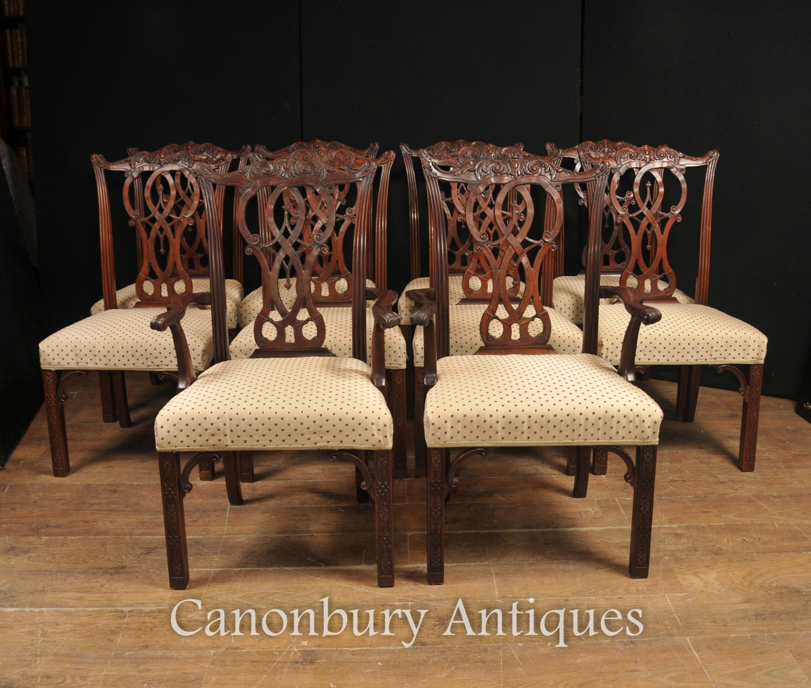 Set 10 Mahogany Chippendale Dining Chairs English Furniture EBay