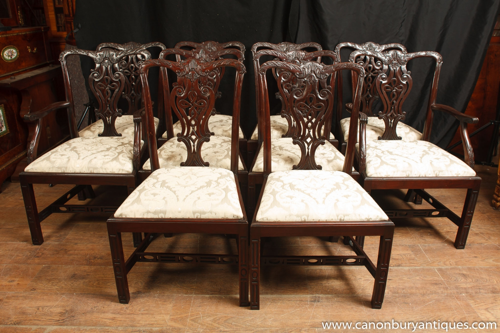 Set 10 Mahogany Victorian Dining Chairs Gothic Chair Diner EBay