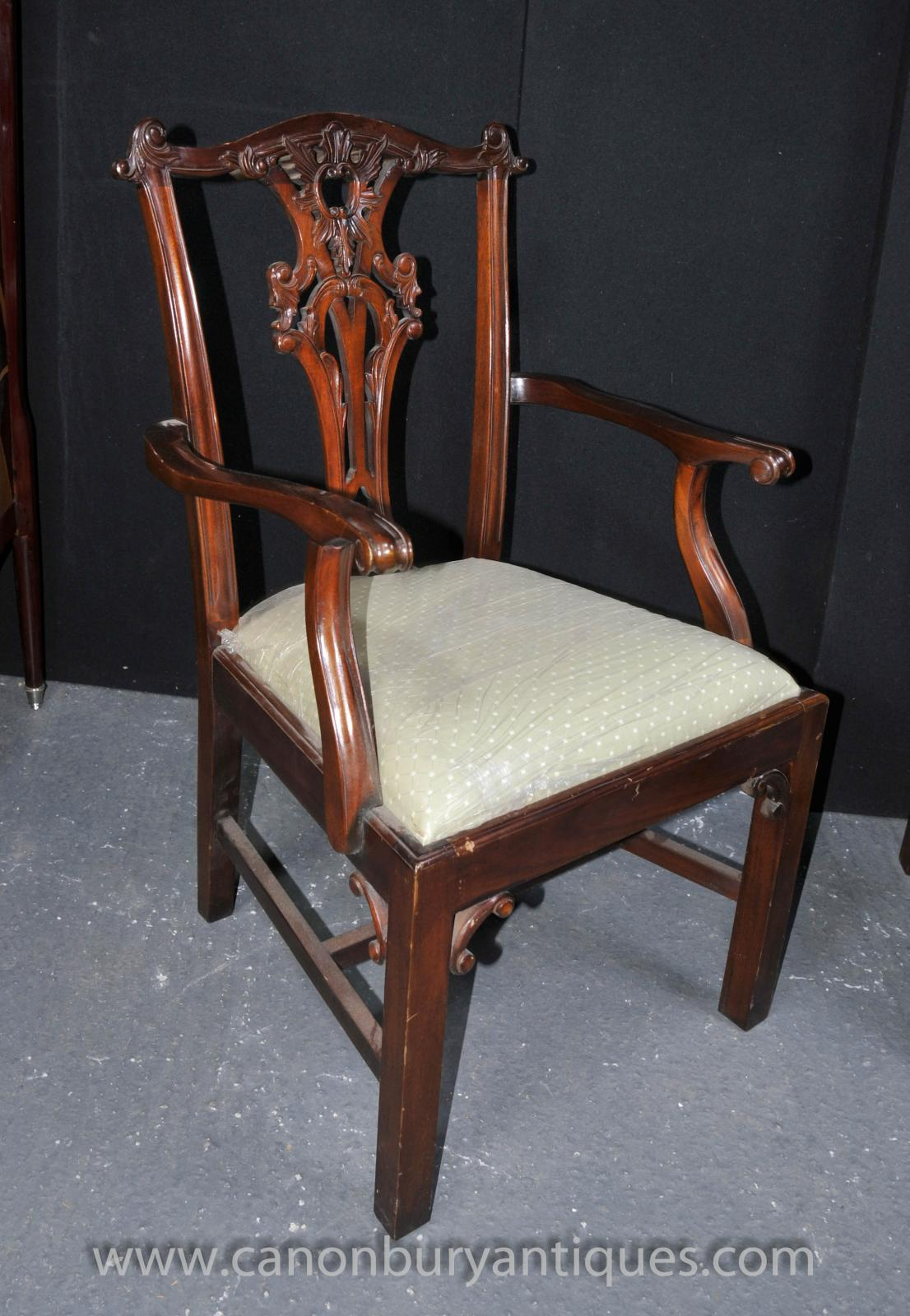 set 8 chippendale dining chairs mahogany diners ebay. Black Bedroom Furniture Sets. Home Design Ideas