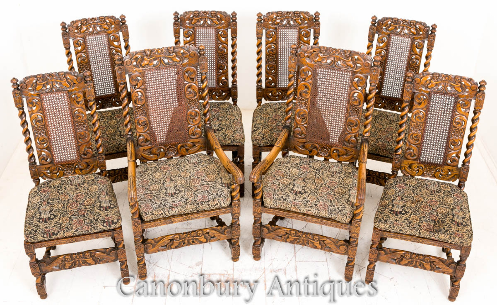 Set 8 Oak Jacobean Dining Chairs Farmhouse Furniture 1880 Ebay