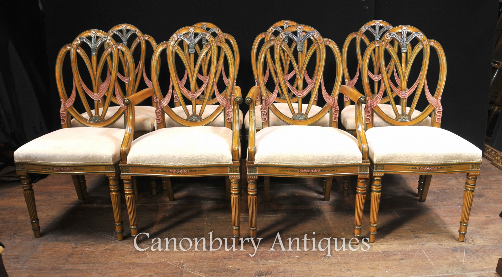 This hand painted hepplewhite style chairs is no longer available - Piece Description Eye Catching Set Of 8 Hepplewhite Style Painted Dining Chairs