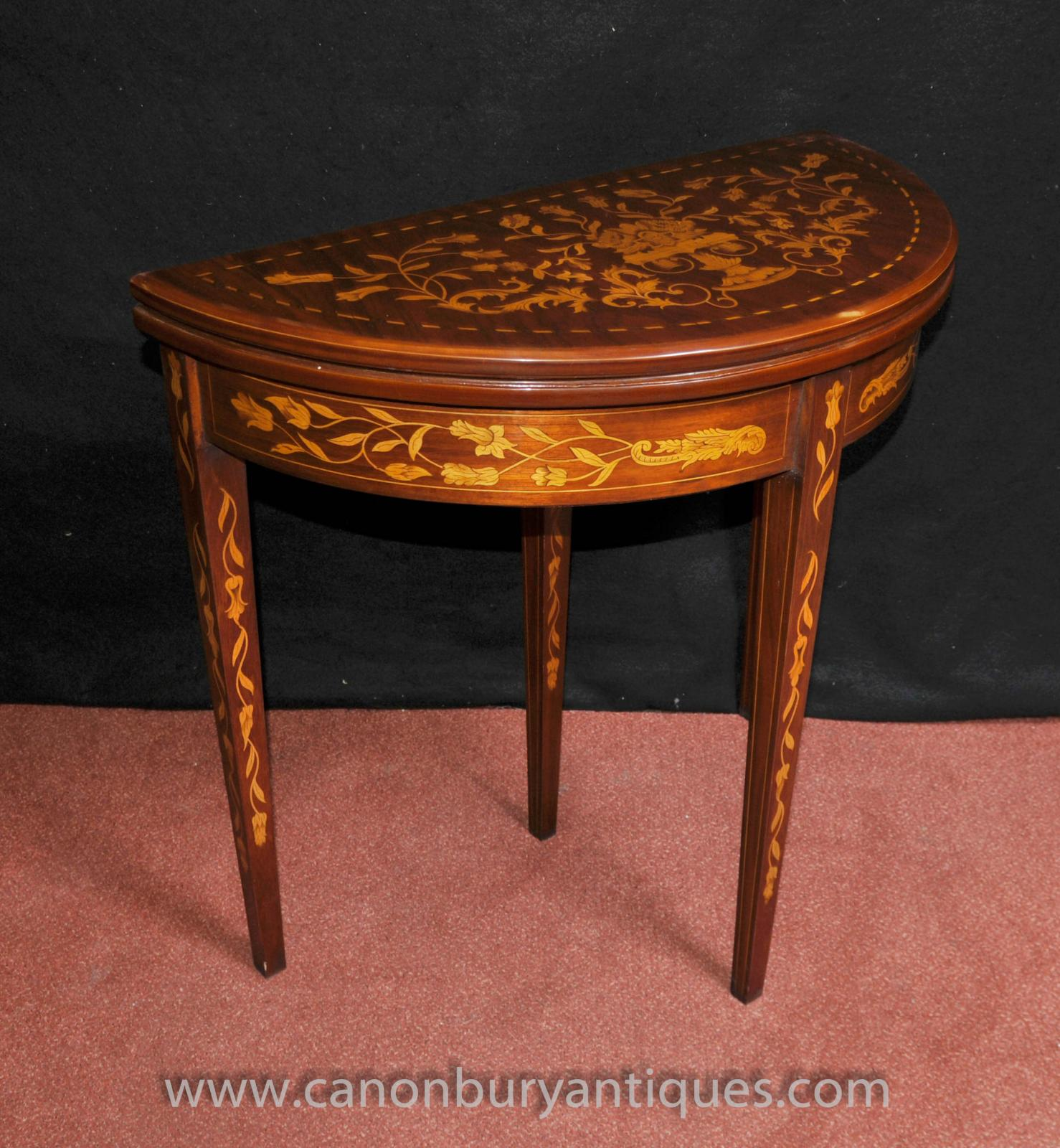 Sheraton card console table demi lune mahogany inlay ebay for Table demi lune extensible