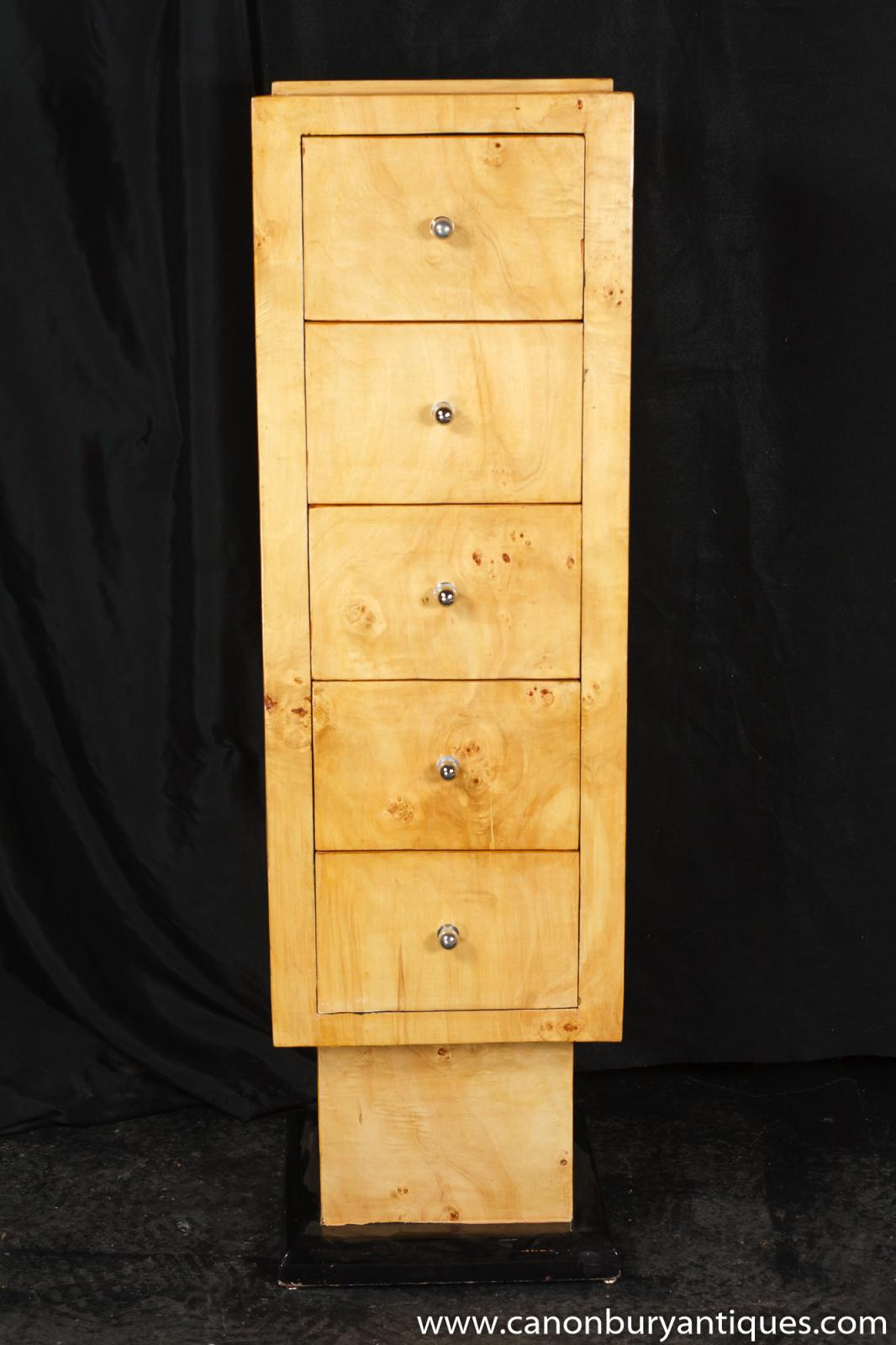 Details About Single Art Deco Tall Boy Chest Drawers 1920s Furniture