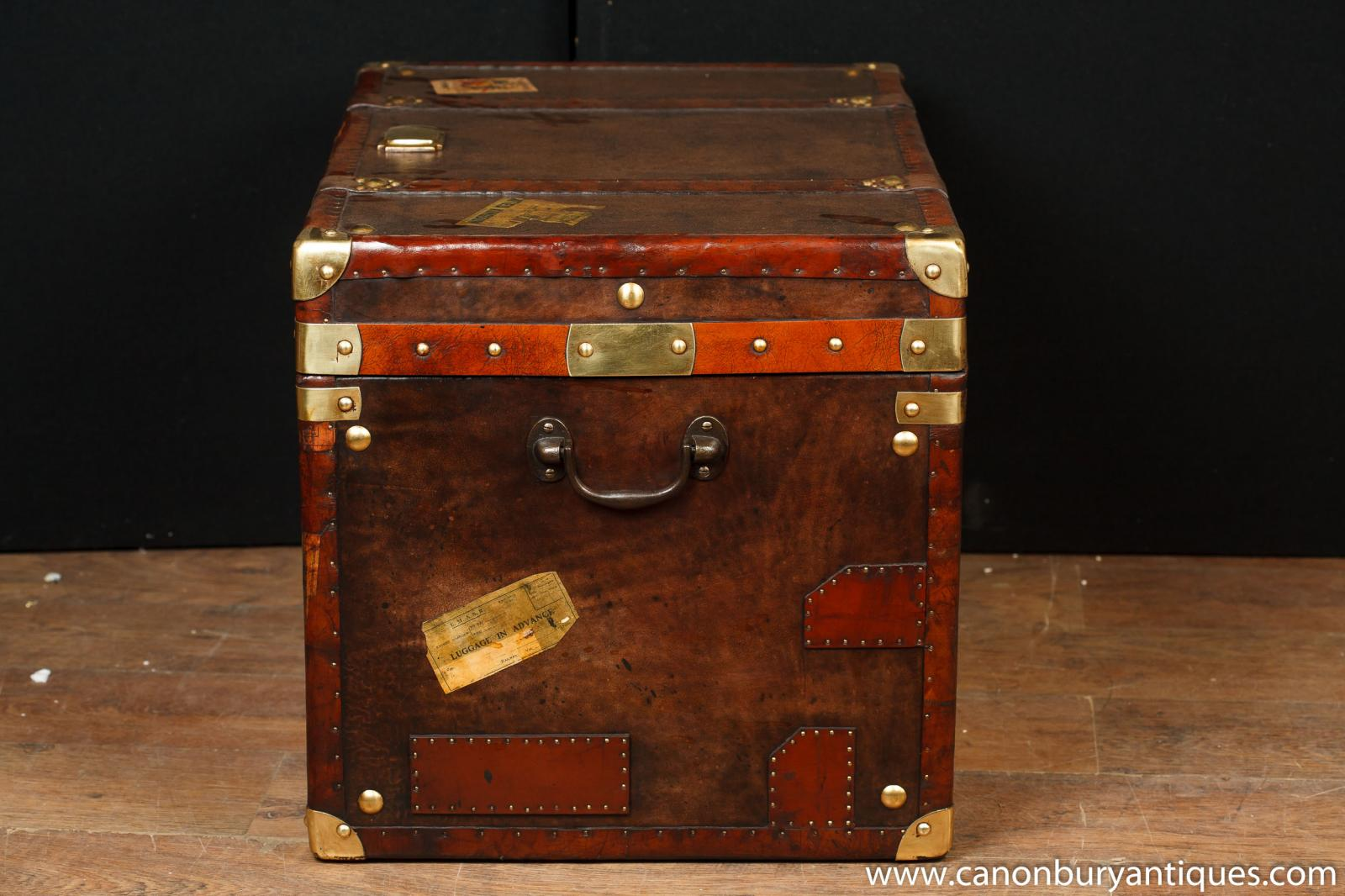 Single Victorian Steamer Trunk Leather Box Case Coffee Table Side Tables Ebay