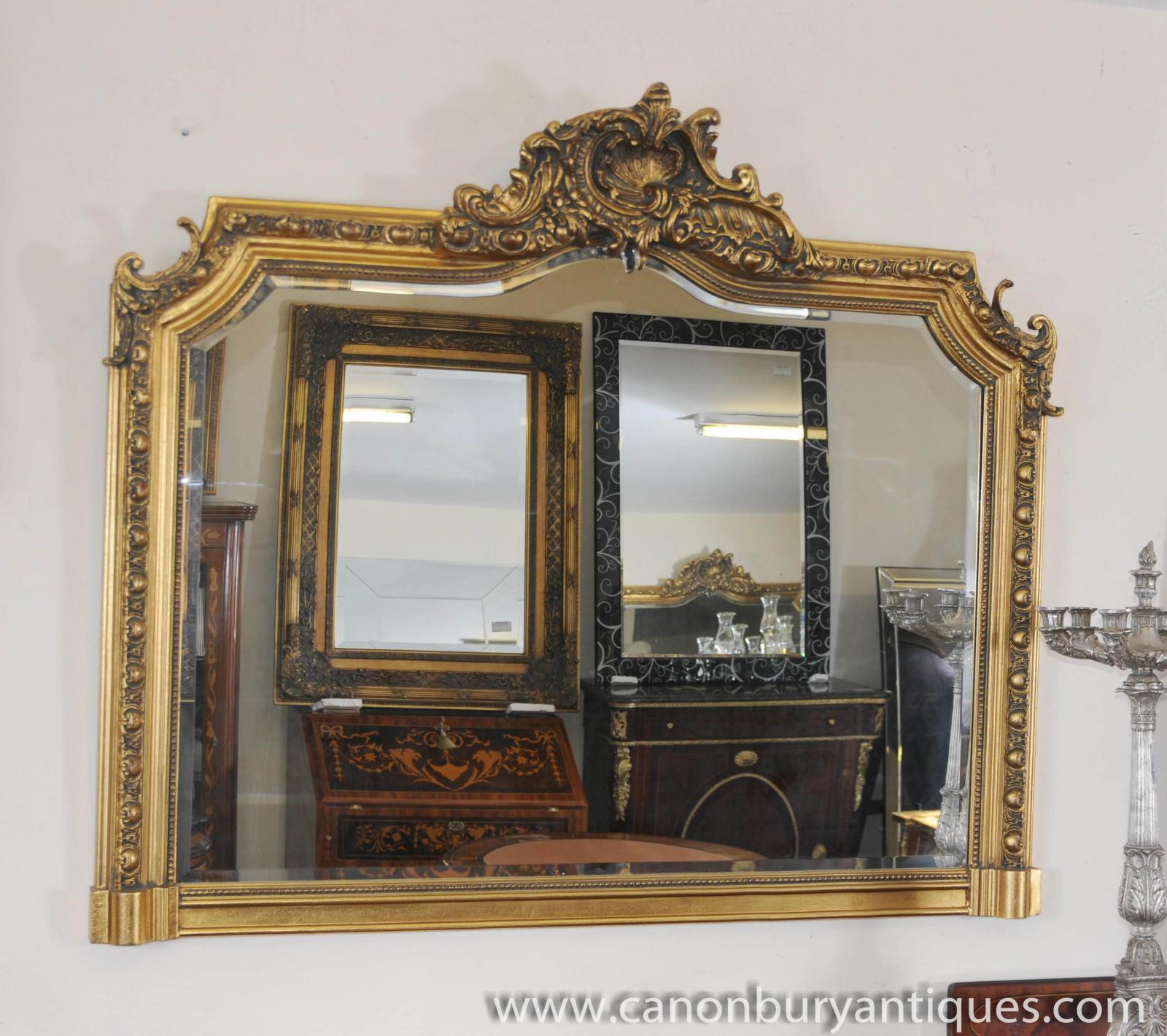 Victorian over mantle gilt mirror carved frame mirrors ebay for Victorian mirror
