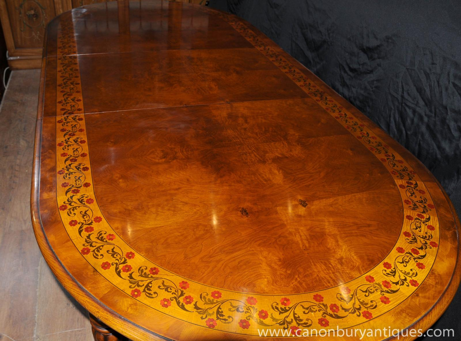 Victorian Walnut Dining Table Extending Tables Marquetry Inlay | EBay