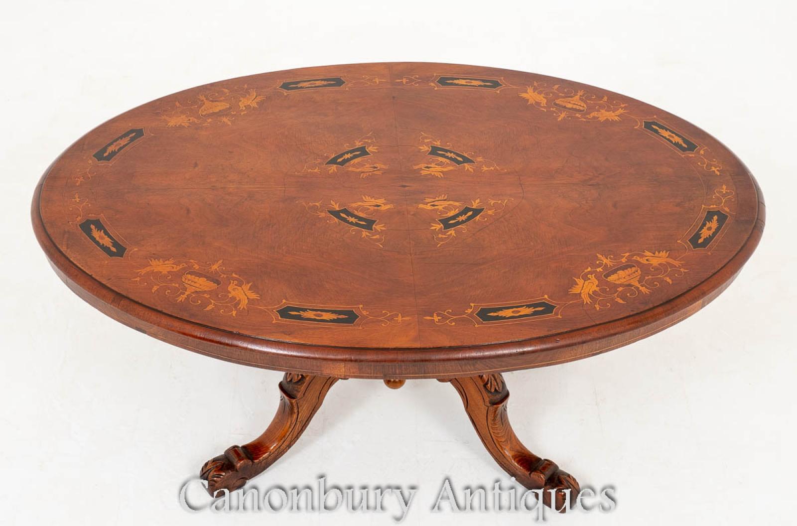 Piece description victorian walnut inlaid coffee table
