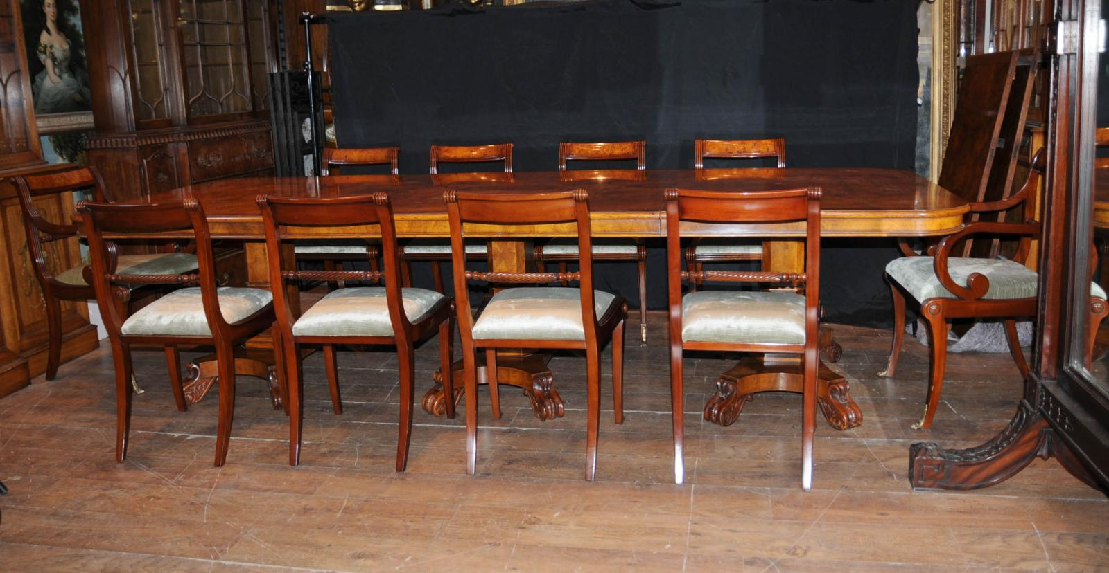 Walnut regency dining set pedestal table matching 12 for 12 chair dining table set