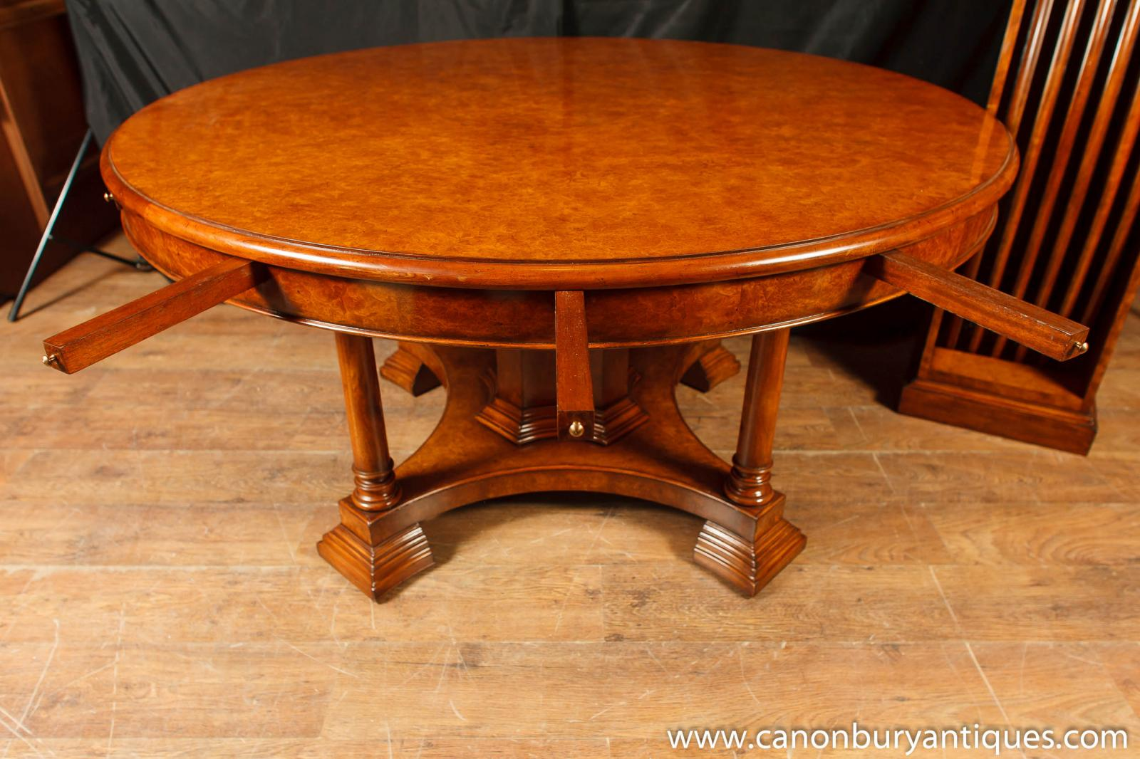 Walnut regency jupe table extending round dining tables ebay for Round extending dining table