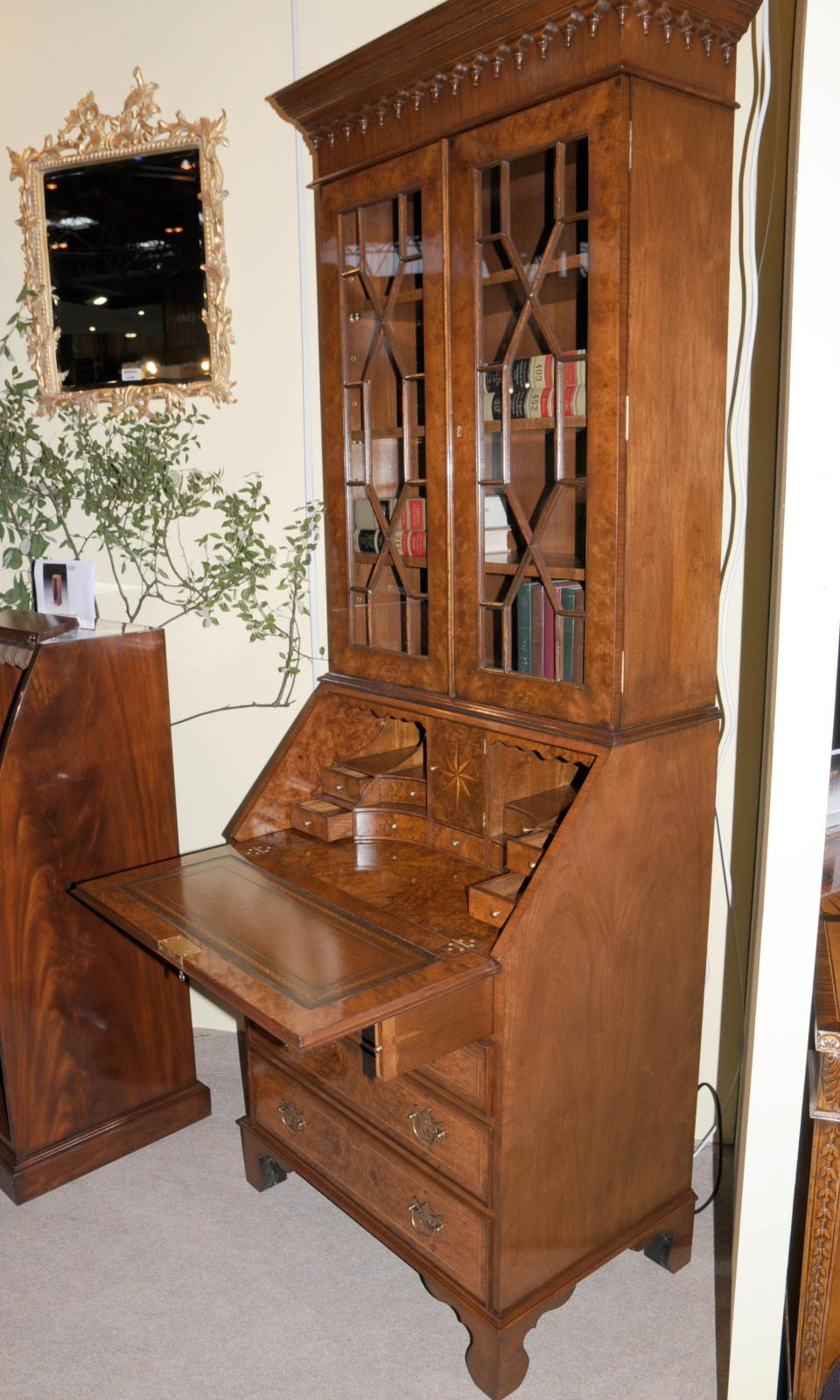 walnut victorian secretary bookcase bureau cabinet desk ebay