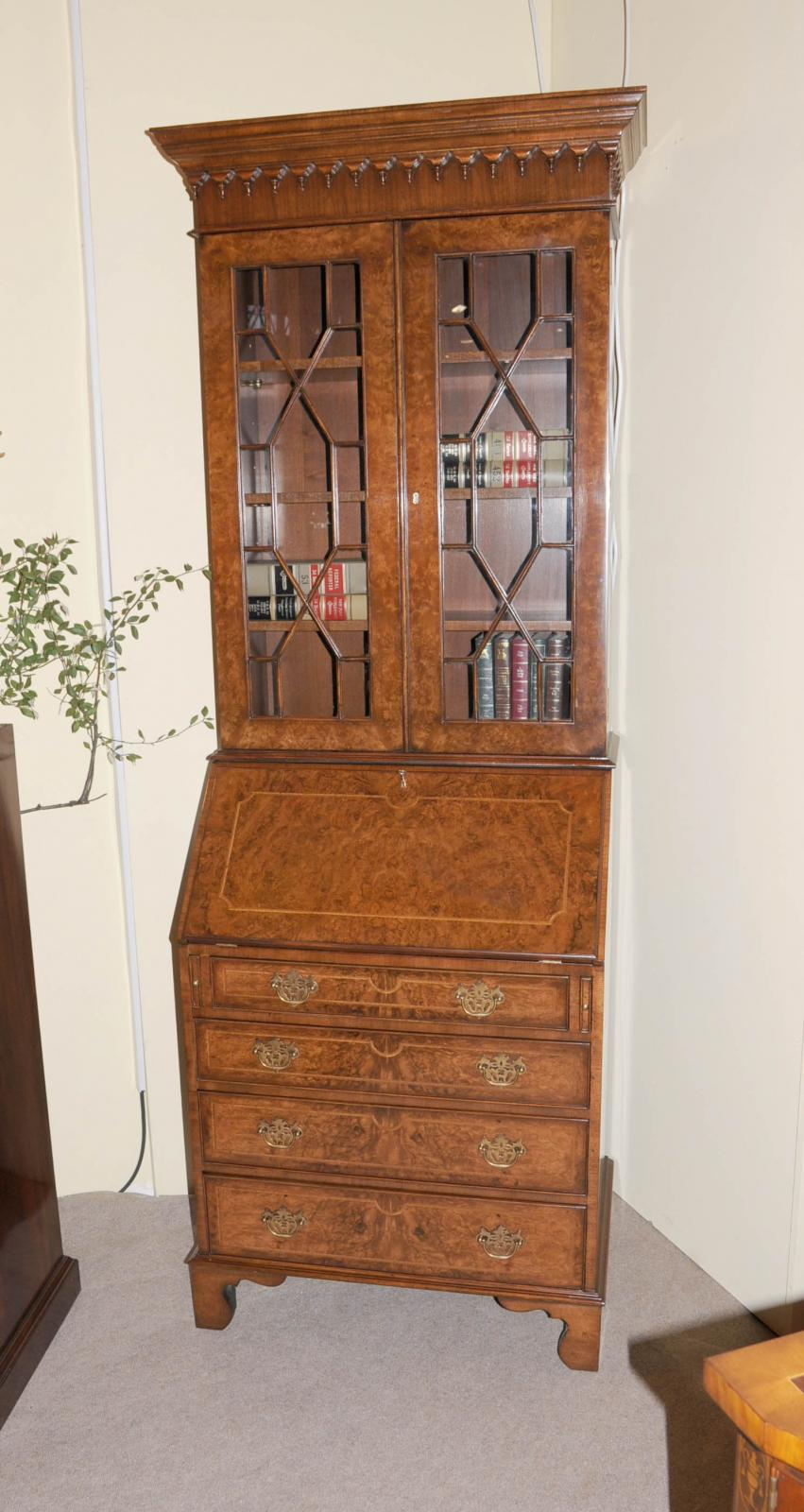 walnut victorian secretary bookcase bureau cabinet desk ebay. Black Bedroom Furniture Sets. Home Design Ideas