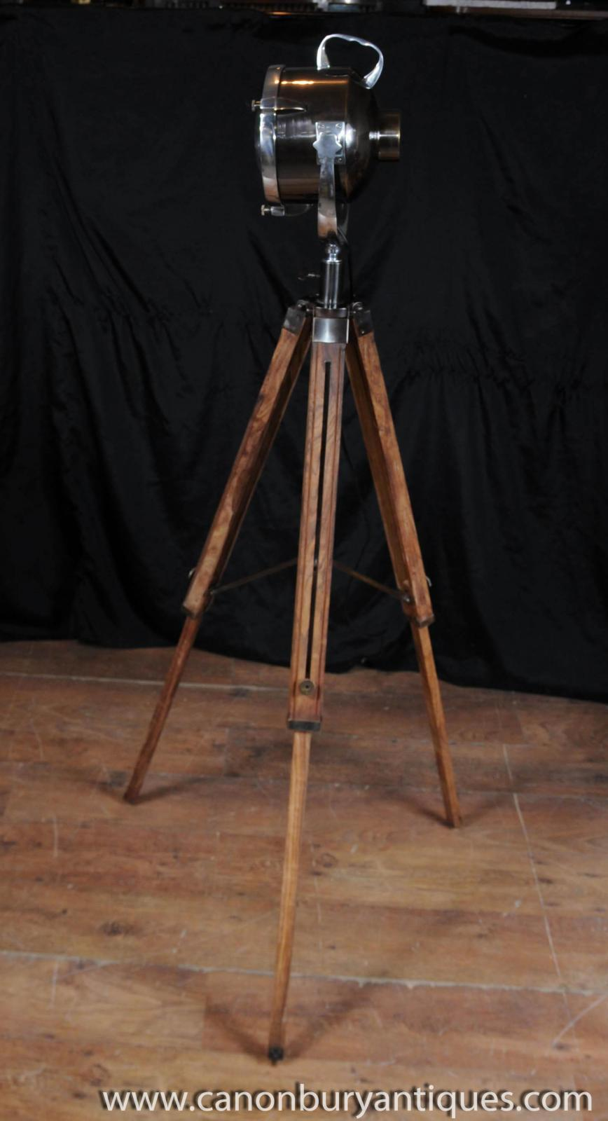 Wood Chrome Tripod Lamp Architectural Spot Light Floor ...