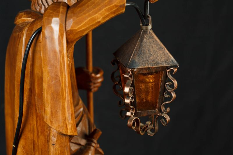 Photo of Antique Carved Black Forest Male Figurine Lamp Light