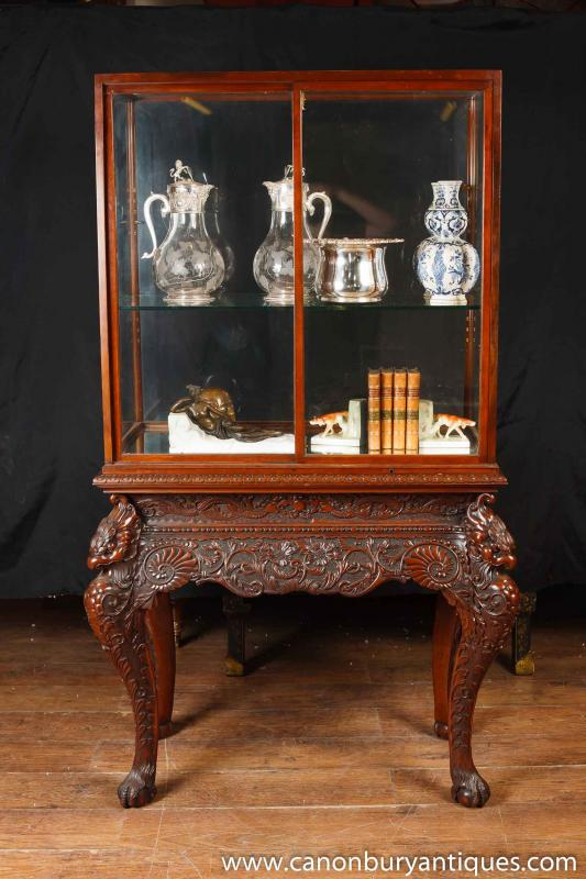 Photo of Antique Collectors Display Cabinet Chinese Chippendale Mahogany
