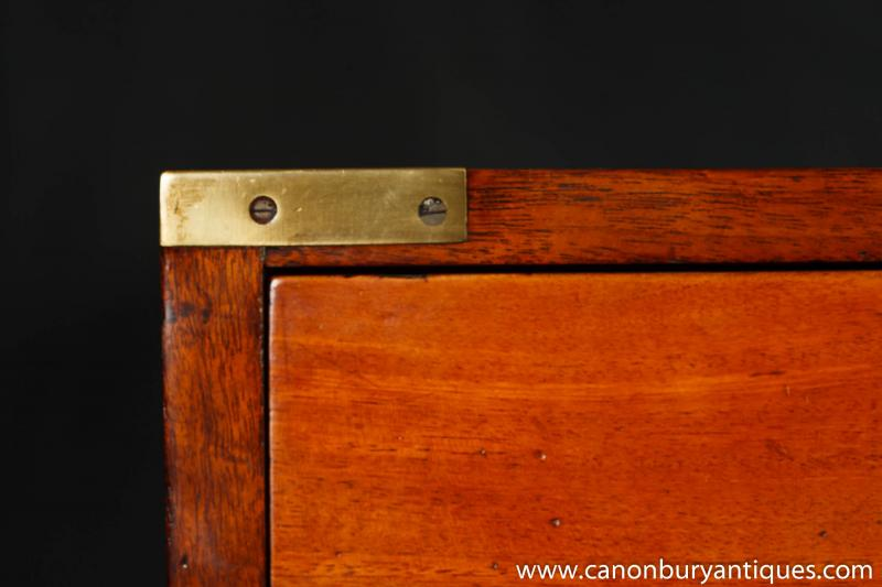 Photo of Antique Military Campaign Chest Drawers Teak 1800 Furniture
