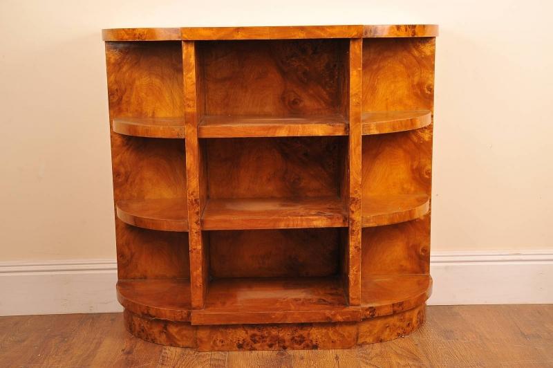 Photo of Art Deco Blonde Walnut Bookcase Book Case Sideboard