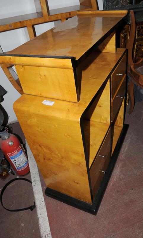 Photo of Art Deco Bookcase Shelf System Blonde Walnut Vintage Furniture Sideboard