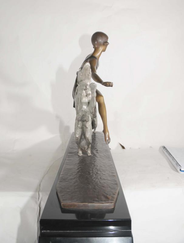 Photo of Art Deco Borzoi Dog Figurine Bronze Lormier