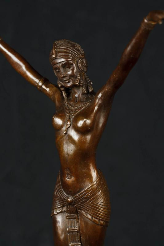 Photo of Art Deco Bronze Chiparus Statue Signed Egyptian Dancer