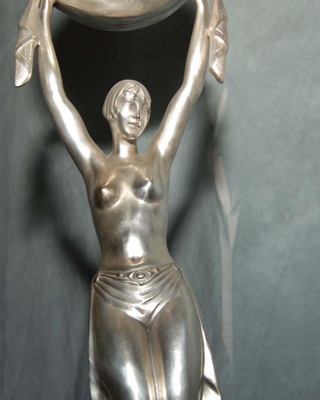Photo of Art Deco Bronze Figurine Lamp Light French Statue