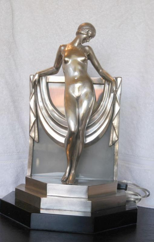 Art deco bronze figurine lamp light statue 1920s - Statuette art deco femme ...