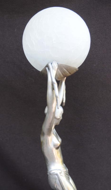 Photo of Art Deco Bronze Figurine Lamp Statue Light