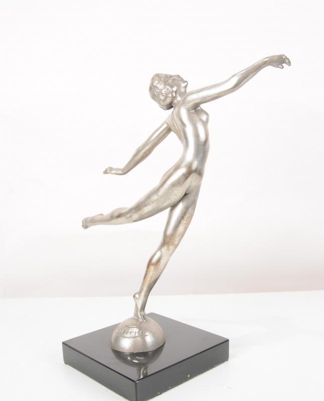 Photo of Art Deco Bronze Graceful Dancer Statue Semi Naked Figurine