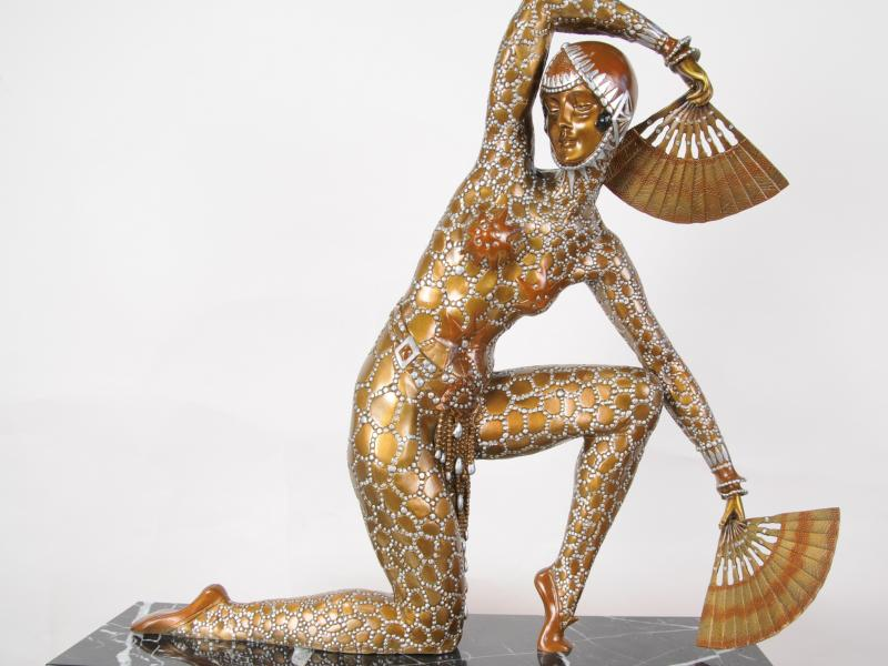 Photo of Art Deco Chiparus Bronze Fan Dancer Figurine Statue 1920s