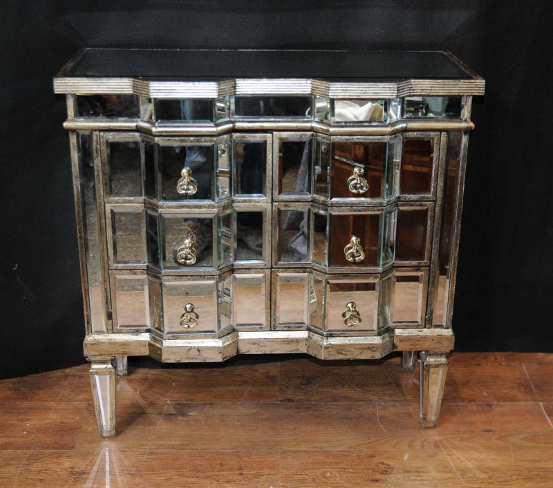 Art Deco Mirror Chest Drawers Mirrored Furniture Chests Cabinet EBay