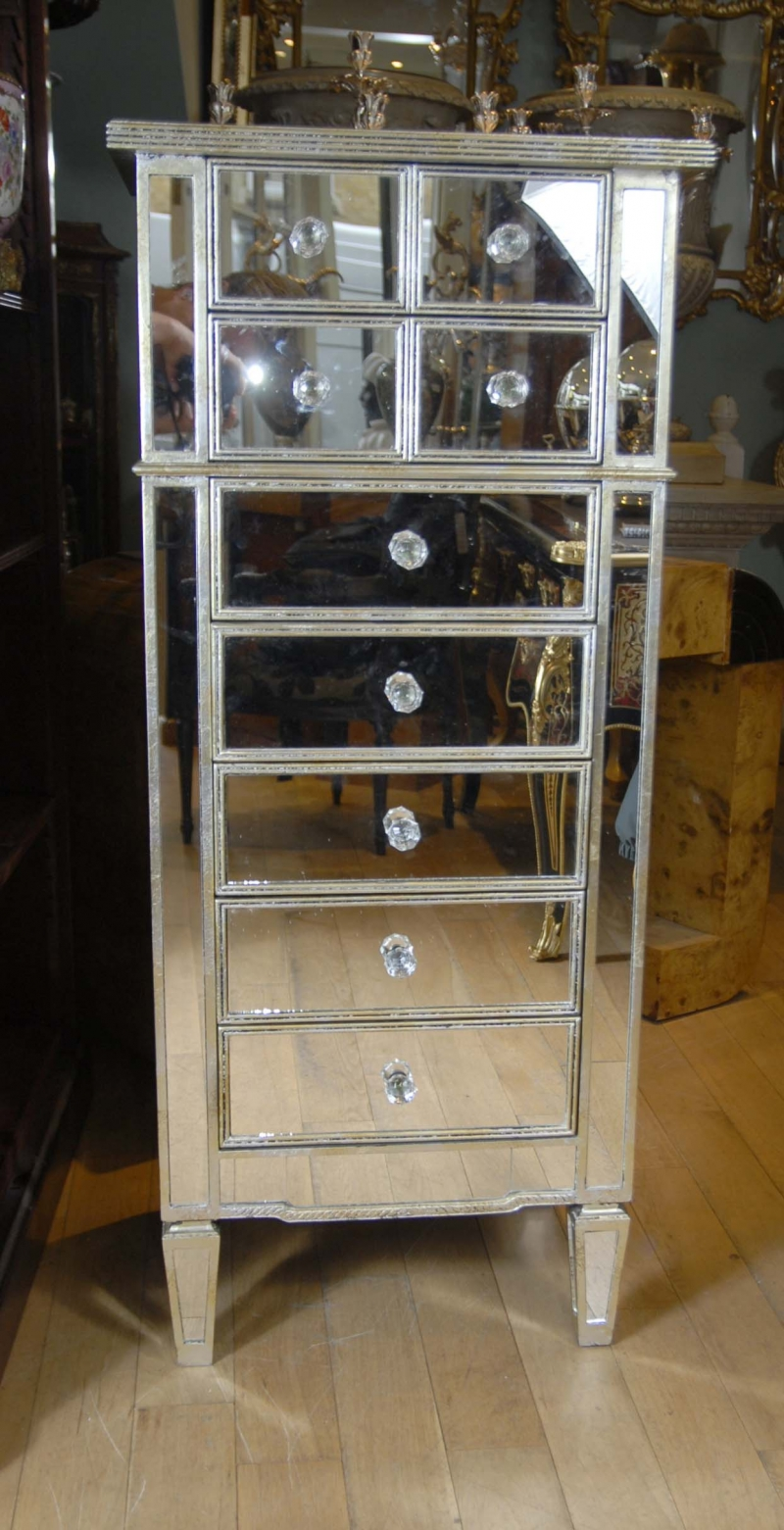 art deco mirrored chest drawers chest tall boy ebay. Black Bedroom Furniture Sets. Home Design Ideas