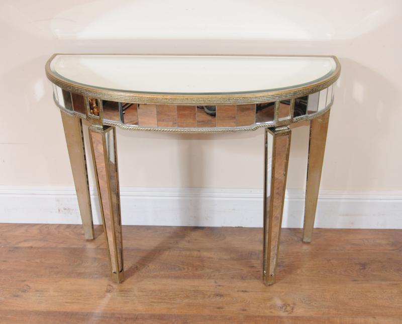 art deco mirrored console table demi lune tables ebay. Black Bedroom Furniture Sets. Home Design Ideas
