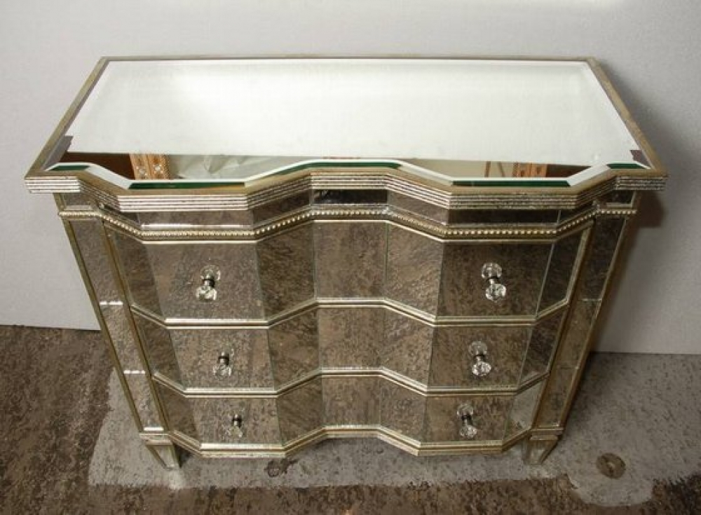 Art deco mirrored serpentine chest drawers commode ebay for Commode miroir art deco