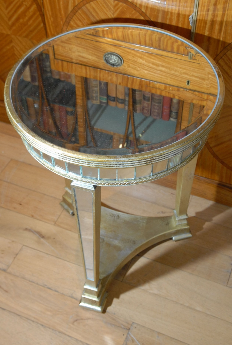 Art deco mirrored side table tables mirror furniture ebay - Table console miroir ...