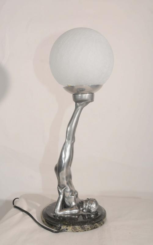 Photo of Art Deco Pewter Figurine Lamp Semi Naked Statue Yoga Girl