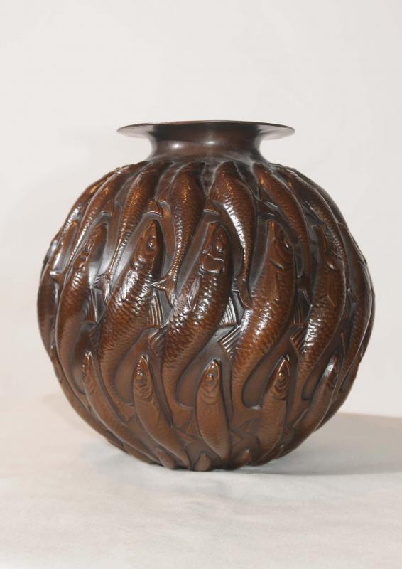 Photo of Art Nouveau Bronze Lalique Fish Bowl Urn Statue