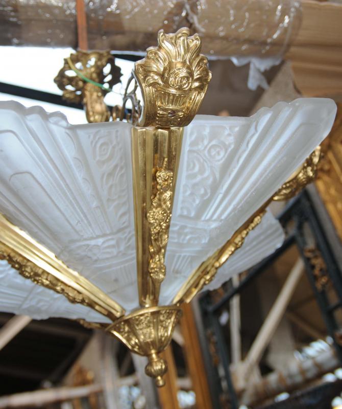 Photo of Art Nouveau Ormolu Light Chandelier Sconce Lamp French Bronze