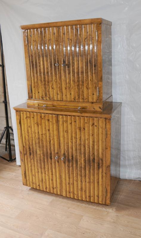 Photo of Blonde Walnut Art Deco Drinks Cocktail Cabinet 1920s Interiors