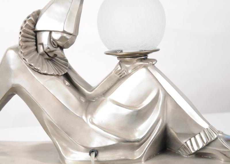Photo of Bronze Art Deco Clown Statue Lamp by Bourraine Harlequin Figurine Light