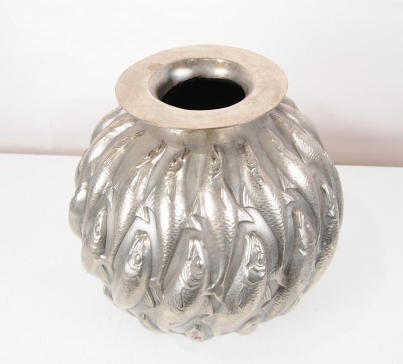 Photo of Bronze Lalique Marisa Goldfish Bowl Art Nouveau Planter Dish Fish