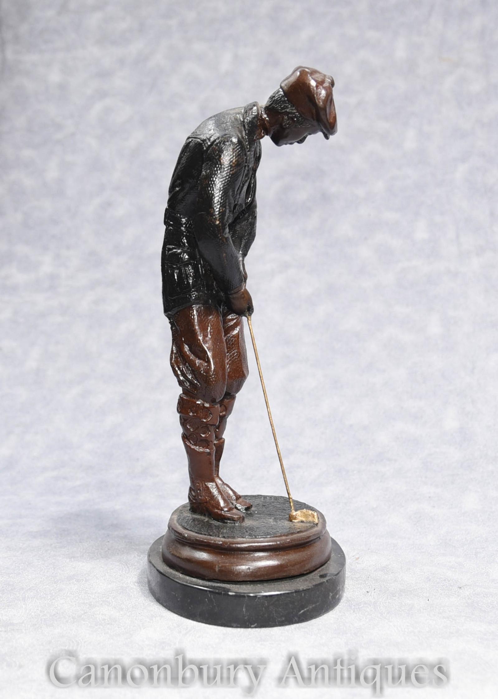 Bronze Scottish Golfer Statue Signed J Daste Golf