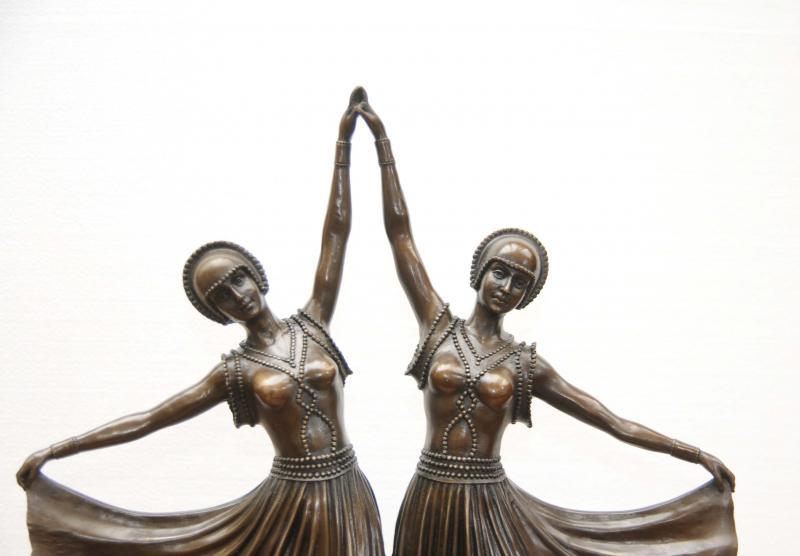 Chiparus Bronze Twin Deco Dancer Statue Figurine  eBay