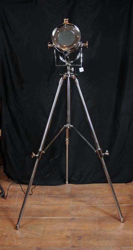 Chrome tripod spot light floor lamp tall light for Eden 3 light tripod floor lamp chrome