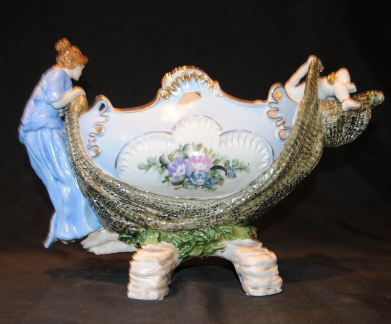 Photo of Dresden German Porcelain Cherub Figurine Bowl