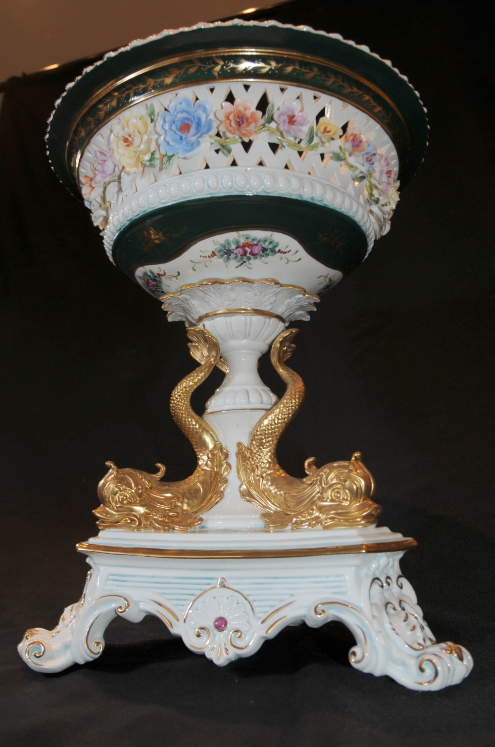 Photo of Dresden Porcelain Gilt Serpent Comport Bowl Stand